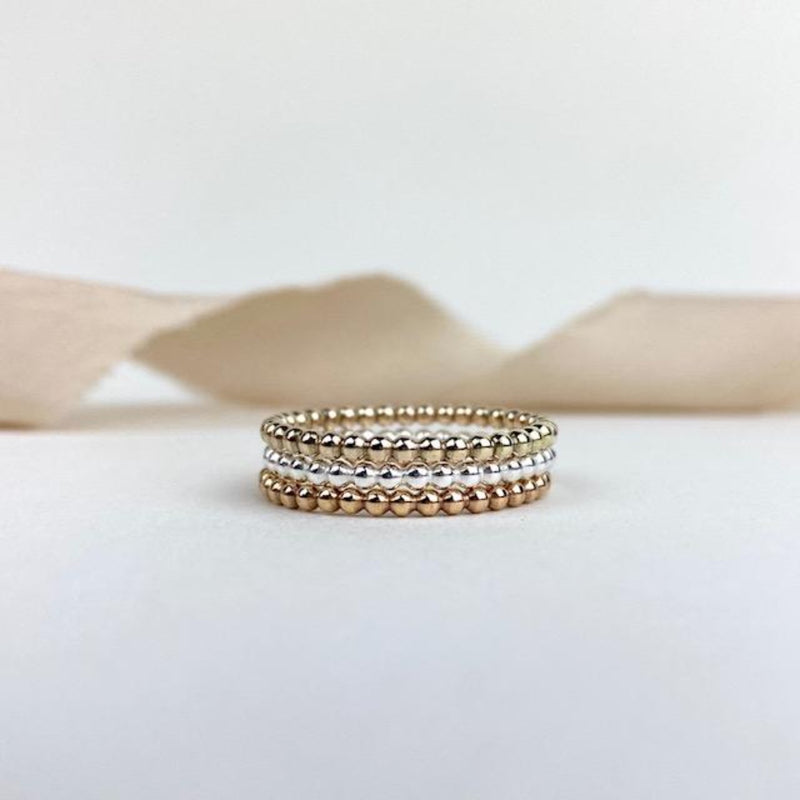The Crown Beaded Stacking Ring - sterling silver, rose gold or yellow gold beaded skinny stacking ring