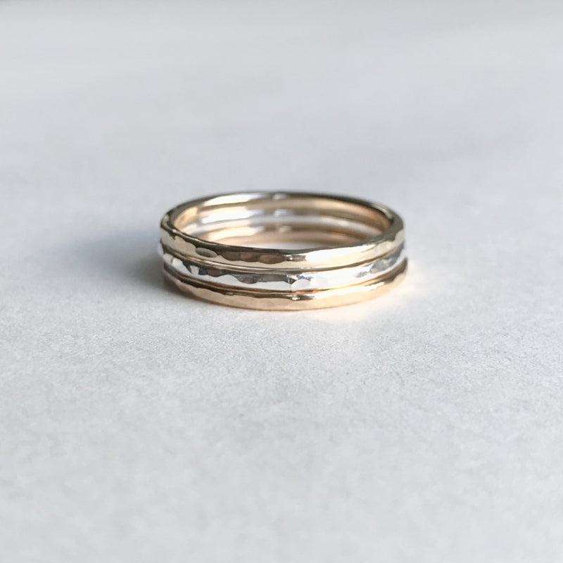 The Florin Hammered Stacking Ring - sterling silver, 12ct rose gold or 12ct yellow gold skinny textured stacking ring