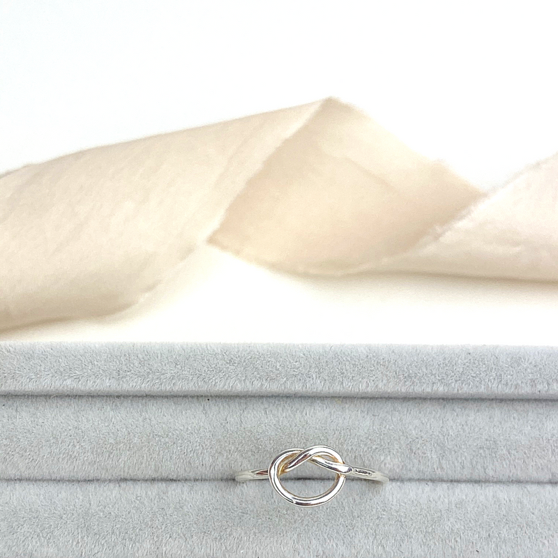 The Meg Knot Ring - sterling silver skinny ring - wedding and bridesmaid gift - handtied knot ring