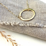 The 9ct Gold Helm Personalised Necklace - 9ct gold  hoop pendant - hand stamped monogram and name necklace