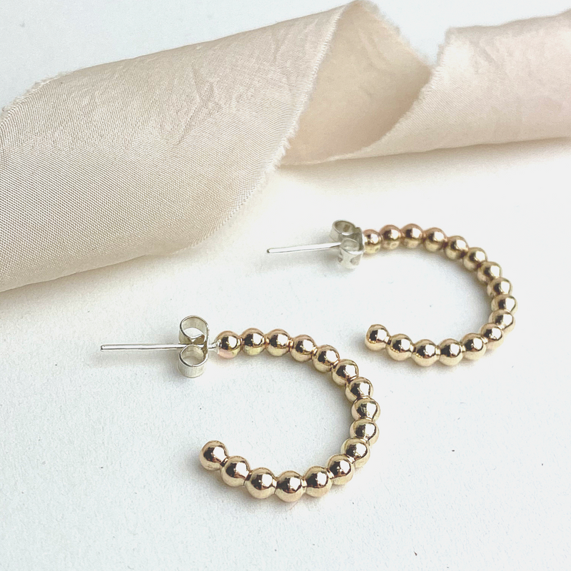 The Crown Beaded Hoop Earrings - 12ct gold beaded hoop earrings - gold ball hoop studs