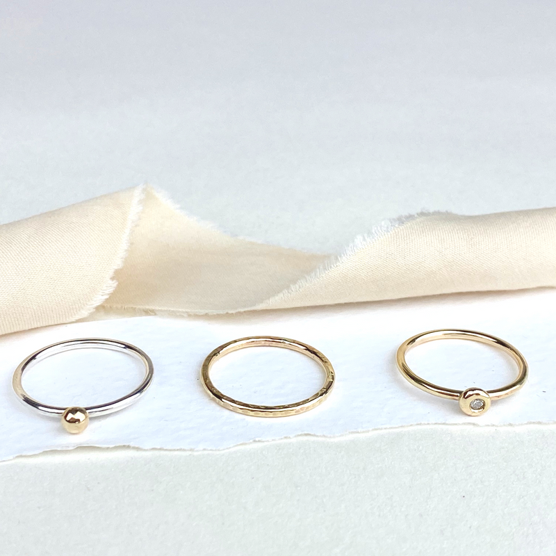 The Broad Sterling Silver and 9ct Gold Stacking Ring