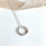 The Tanner Hoop Necklace - sterling silver hoop necklace with 12ct filled gold twist - entwined Russian style interlinked rings