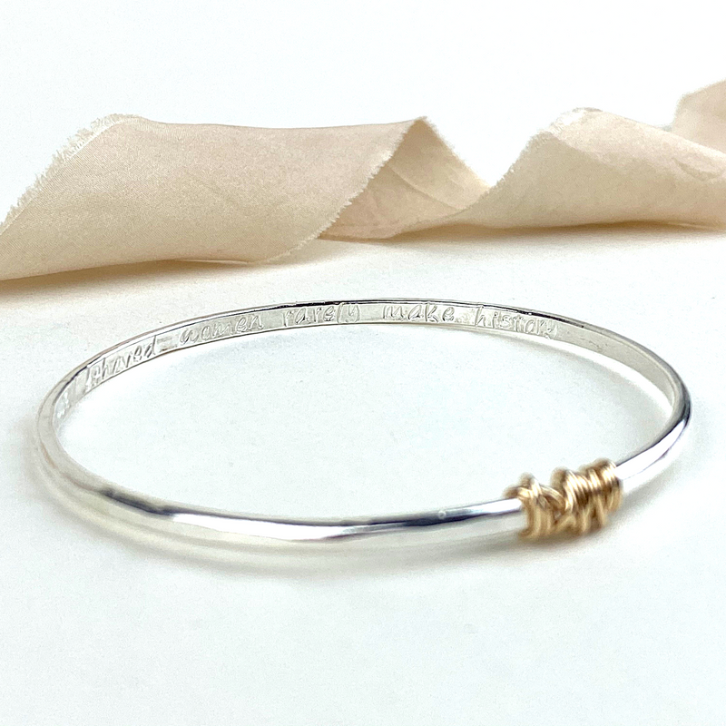 The Tanner Personalised Bangle - sterling silver with 12ct gold twist personalised textured bracelet - hand stamped secret message jewellery