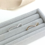 The Crown Beaded Wishbone Ring - stacking beaded ring in silver, rose gold or yellow gold