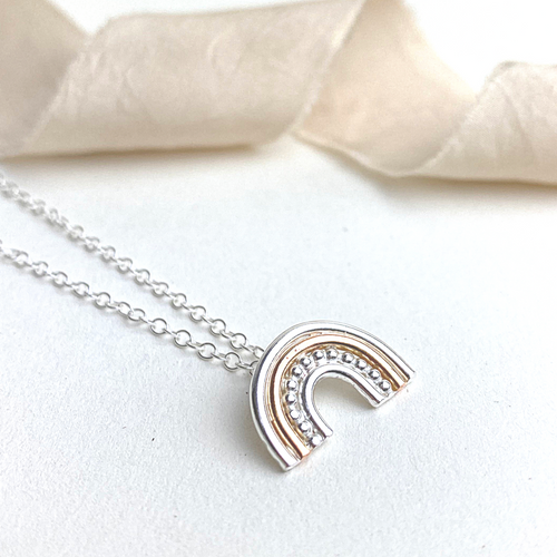 The Shiner Rainbow Necklace - sterling silver and 12ct rose gold rainbow pendant necklace - mixed metal jewellery