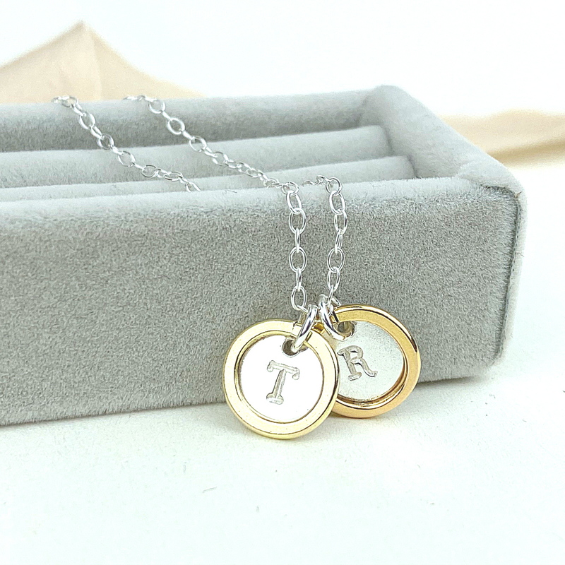 The Farthing Personalised Necklace - sterling silver, rose gold or yellow gold personalised pendant - hand stamped monogram & name necklace