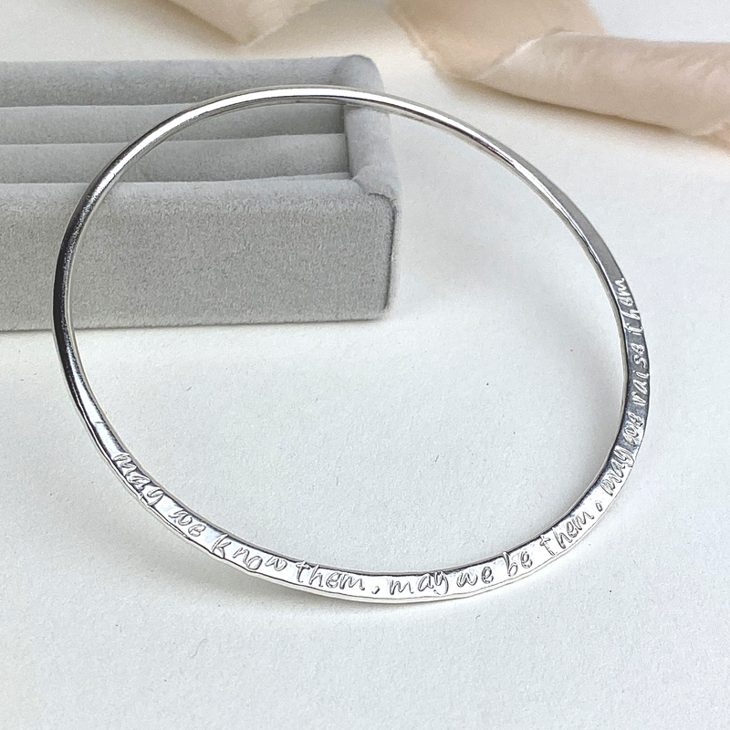 The Angel Personalised Hammered Bangle - sterling silver personalised bracelet