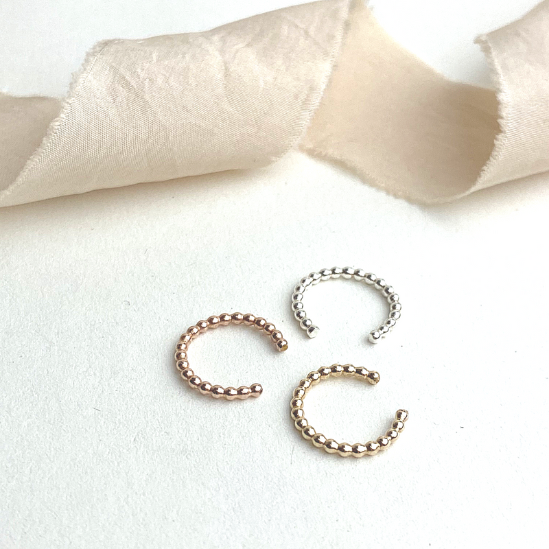 The Crown Ear Cuffs - sterling silver, rose gold or yellow gold no piercing beaded ear cuffs