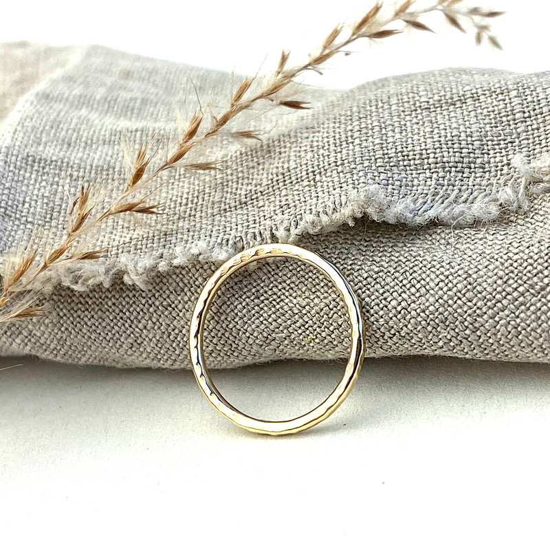 The Spur Hammered 9ct gold Stacking Ring - 9ct yellow gold skinny textured stacking ring