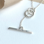 The Dandy Personalised T Bar Necklace - sterling silver personalised T Bar necklace with interlinking hoops - hand stamped monogram and name necklace gift