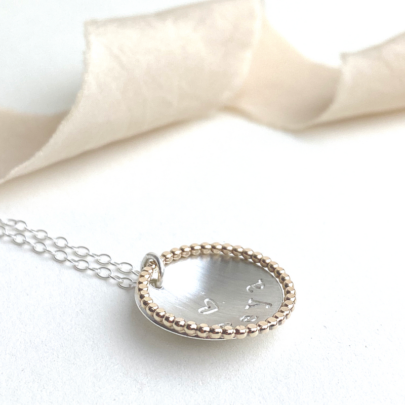 The Ryal Necklace - sterling silver and rose gold personalised pendant necklace - hand stamped monogram and name necklace