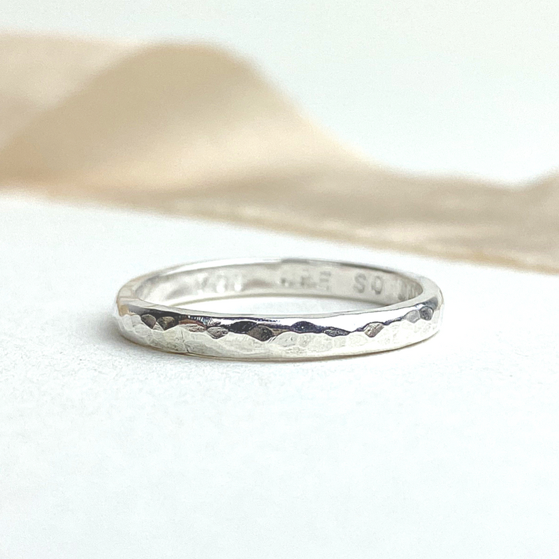 The Mite Personalised Stacking Ring - sterling silver personalised textured skinny stacking ring - hand stamped monogram and name jewellery