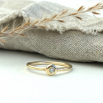 The Sovereign 9ct Gold and Diamond Ring - yellow gold skinny stacking ring