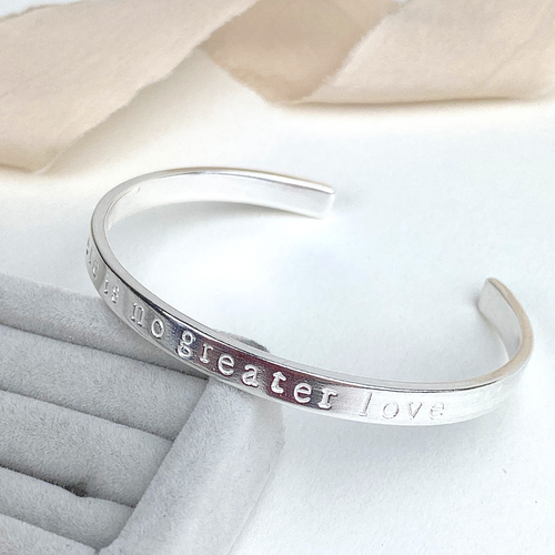 The Winn Personalised Cuff Bangle - sterling silver personalised bracelet - hand stamped secret message cuff bangle
