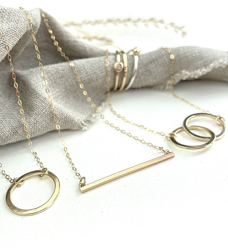 The 9ct Gold Helm Personalised Necklace - 9ct gold hoop pendant