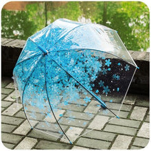 Load image into Gallery viewer, Romantic Transparent Clear Flowers Bubble Dome Umbrella Half Automatic For Wind Heavy Rain Women Sun Umbrella