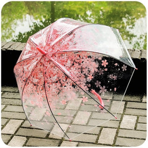 Romantic Transparent Clear Flowers Bubble Dome Umbrella Half Automatic For Wind Heavy Rain Women Sun Umbrella