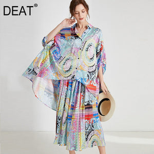 [DEAT] 2020 Large Size Suits Women Batwing Sleeve Loose Irregular Mixed Color Printing Loose Casual New Spring Fashion AR269