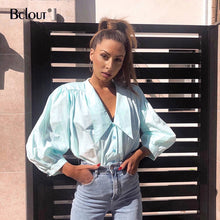 Load image into Gallery viewer, Bclout Streetwear V Neck Women Tops 2020 Summer Long Sleeve Thin Casual Ladies Shirts Button Down Blouse Shirt Slim Woven Top