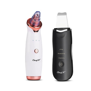 CkeyiN Ultrasonic Facial Skin Scrubber Ion Deep Face Clean+ Electric Vacuum Suction Blackhead Extractor Clean Tool with 4 Probe