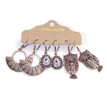 Load image into Gallery viewer, Ethnic Rose Gold Metal Tassel Fringe Womens Earrings Sets Jewelry Bohemia Vintage Round Circle Leaf Geometric Drop Earrings Gift