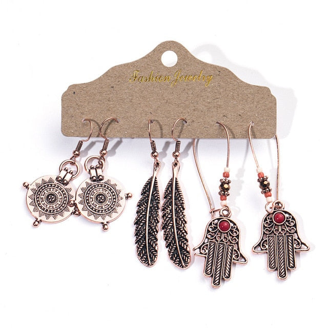 Ethnic Rose Gold Metal Tassel Fringe Womens Earrings Sets Jewelry Bohemia Vintage Round Circle Leaf Geometric Drop Earrings Gift