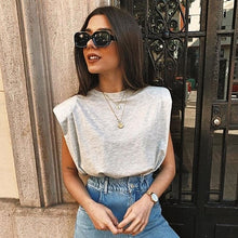 Load image into Gallery viewer, Spring Summer White Loose Sleeveless Top Women O Neck Camis Casual Basic Sport Vest Tops Female Streetwear Tank Tops Knitte 2020