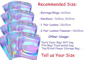 Eyelashes Package In Bulk Holographic Laser Ziplock Bag Eyelash Storage Custom Brand Logo Sticker Wholesale Idea Gift Packaging