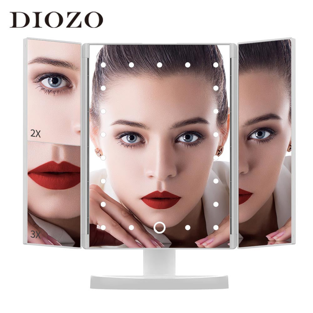 Makeup Light Mirror Touch Screen Makeup Mirror 21 LED Lights 1X/2X/3X Magnification Mirror With Light