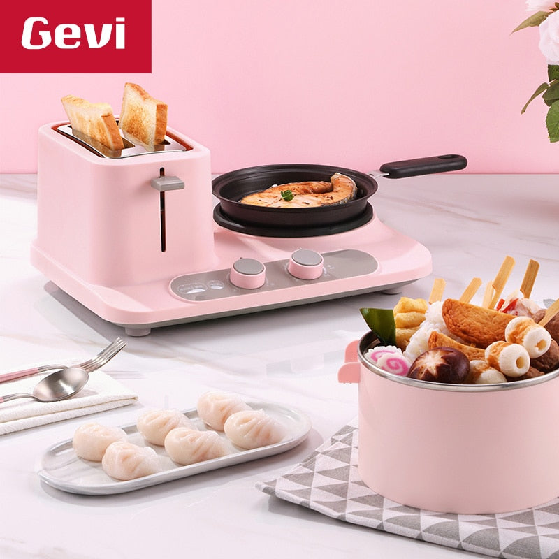 GEVI 3 In 1 Electric Breakfast Machine Multifunction  frying pan mini Cooking pot household bread pizza sandwich frying pan 220V