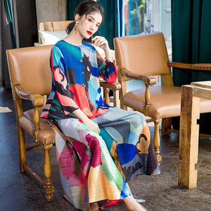 [DEAT] 2020 Pleated Full Sleeve Round Collar Loose Multicolor Print Button Suit Women's New Fashion Fold Clothing Trend AR221