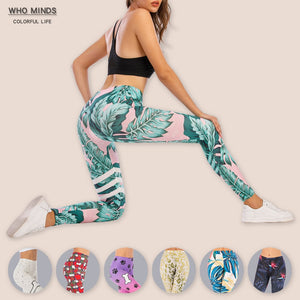 Tropical Leafs Sexy High Waist Legging Anti Cellulite Slim Elasticity Push Up Fitness Gym Leggings Women Pants Stacked Leggings