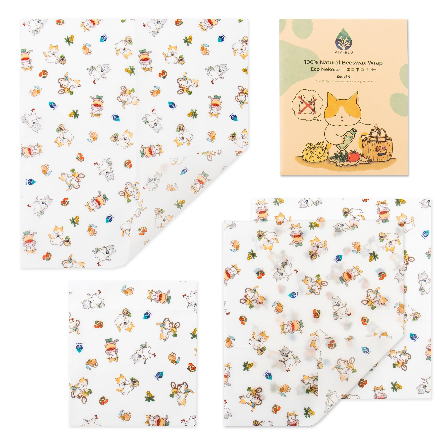 La pellicola in Cera d'api - Eco Neko(Gatto) Design Beeswax Wrap