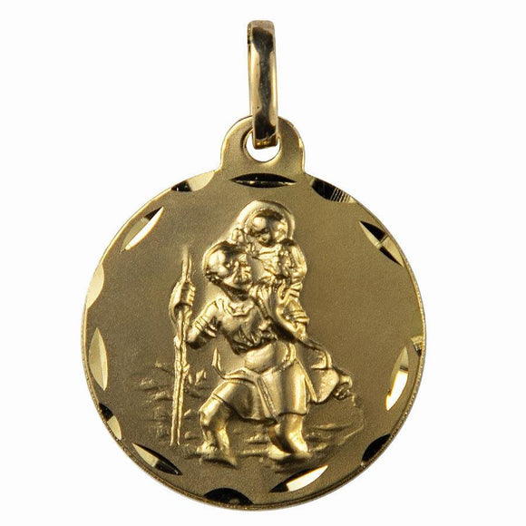 Médaille Saint Christophe or 9 carats ronde 20mm