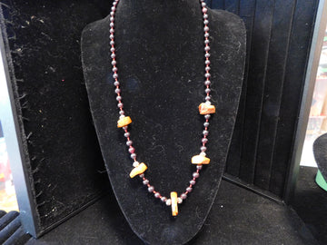 Baltic Amber with Garnet Necklace