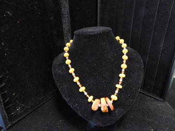 Baltic Amber with Citrine with yellow Jade Neclace
