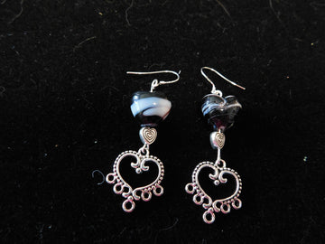 Black and white Italian Murano Glass Earrings