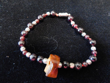 Baltic Amber, and Garnet Bracelet