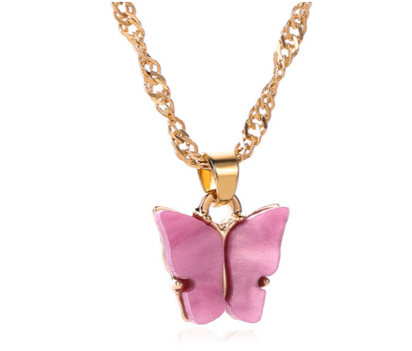 Orchid Pink Butterfly Necklace