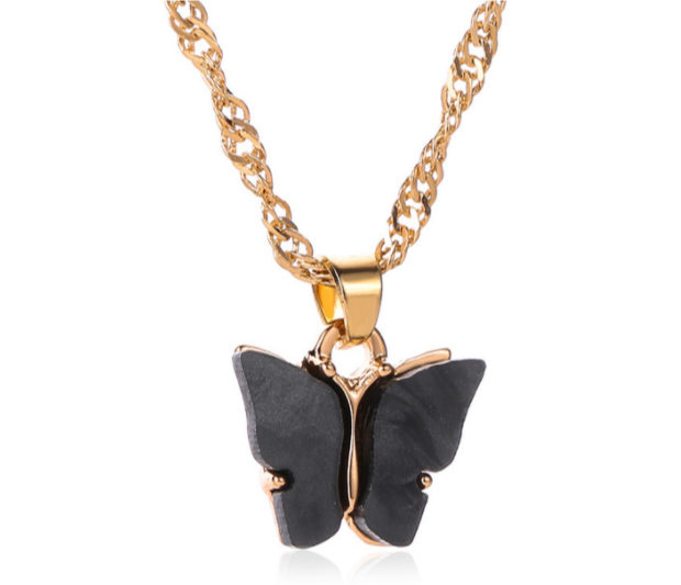 Midnight Black Butterfly Necklace
