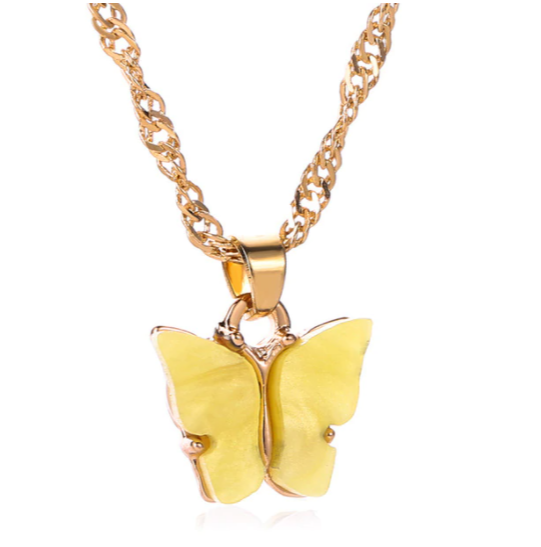 Sunshine Yellow Butterfly Necklace