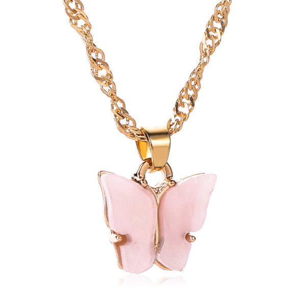Bubblegum Pink Butterfly Necklace