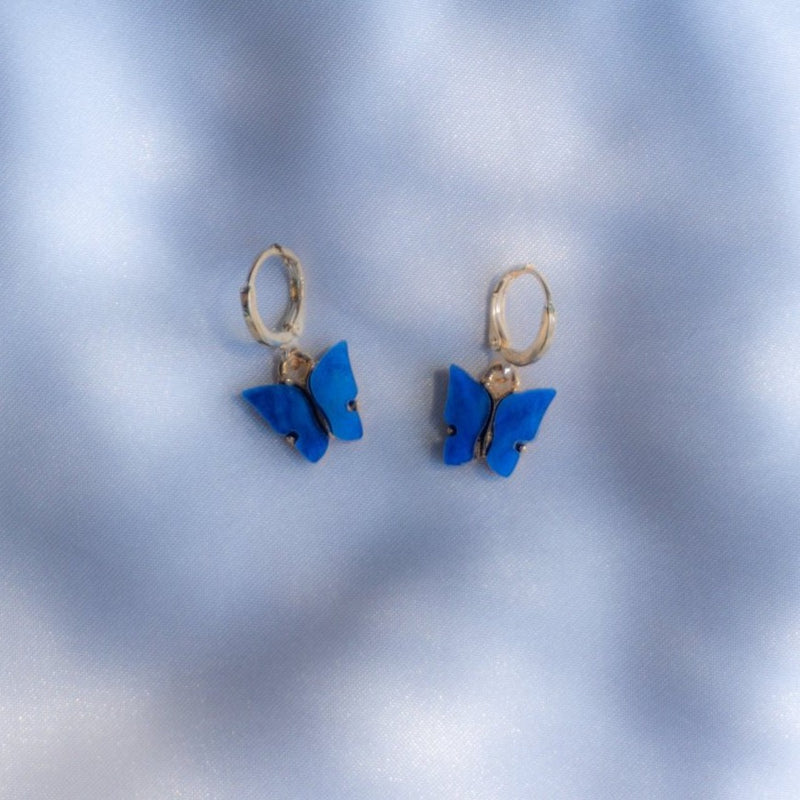 Deep Sea Blue Butterfly Earrings