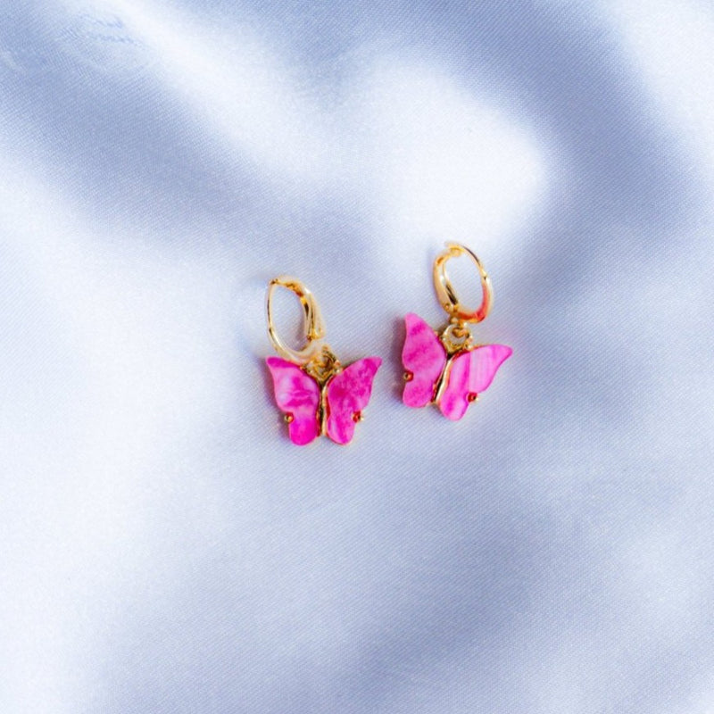 Orchid Pink Butterfly Earrings