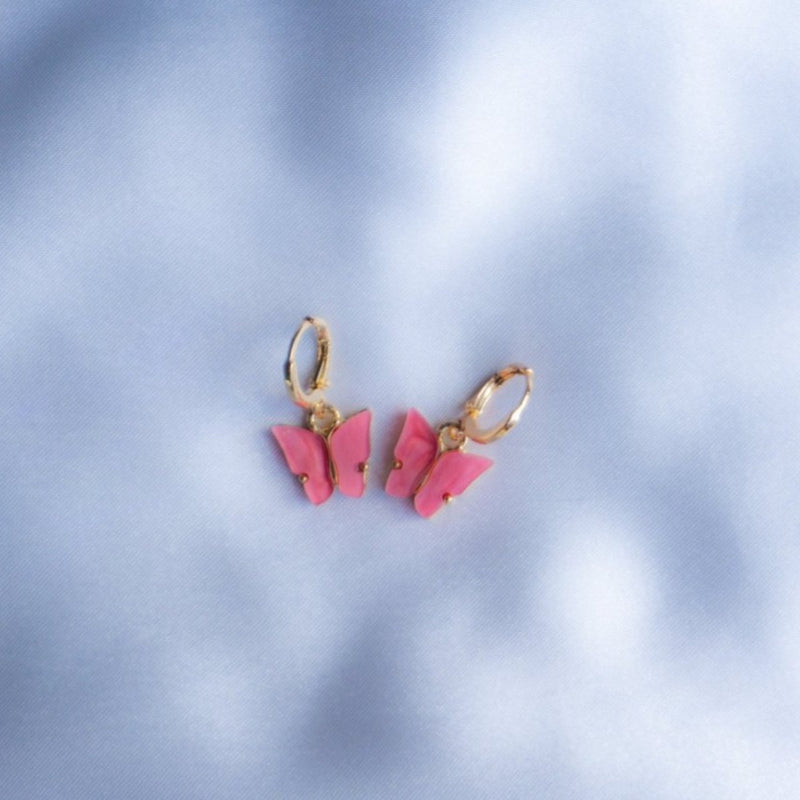 Watermelon Pink Butterfly Earrings