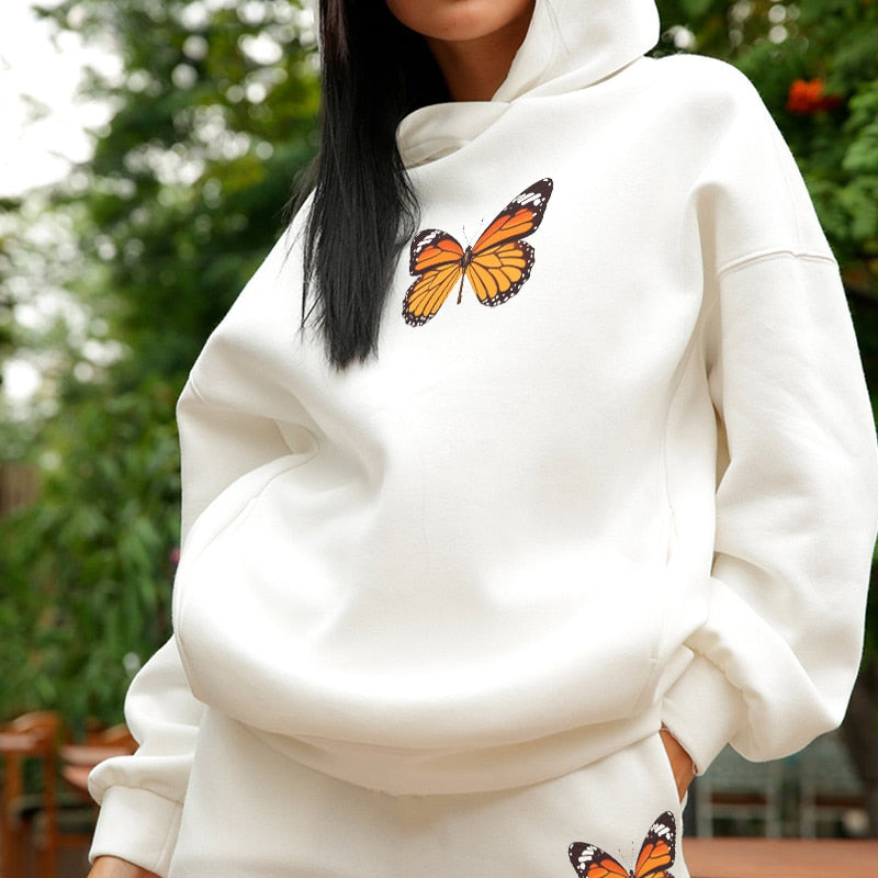 White Butterfly Loungewear - Two Piece Set (Oversized Hoodie & Pants)