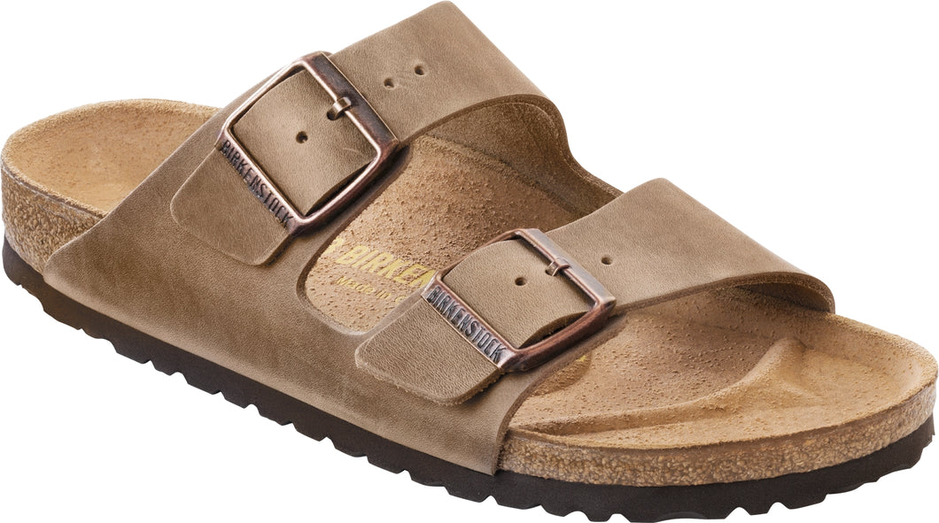 BIRKENSTOCK Arizona Oiled Leather Tabacco Slides