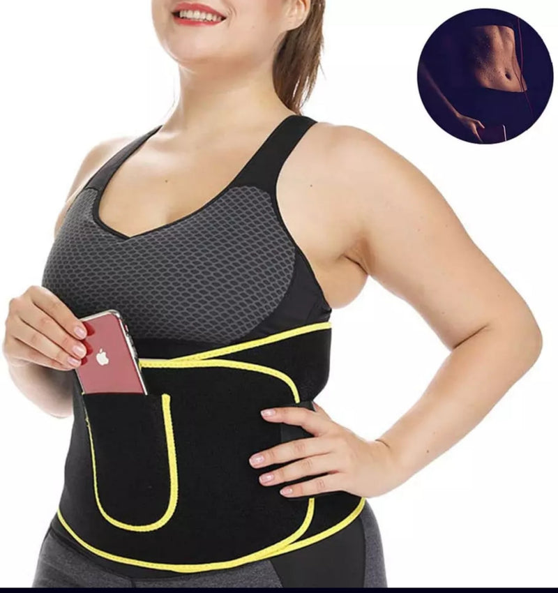 Sweat workout belt with phone pocket