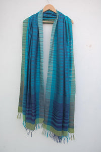 Mulberry Silk & Cotton Blue Scarf